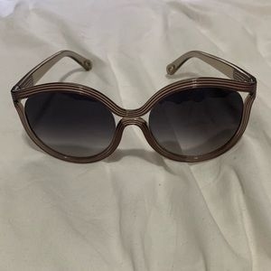 Chloe Purple Striped Square Frame Sunglasses